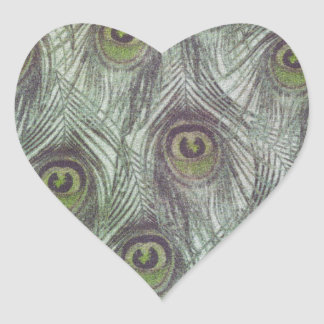 Vintage Peacock Feathers Heart Sticker