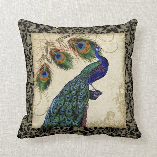 Vintage Peacock Feathers Vintage Decoratve Decor Throw Pillow Zazzle
