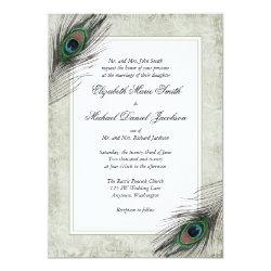 Vintage Peacock Feathers Wedding Invitation