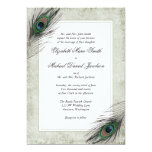 Vintage Peacock Feathers Wedding 5x7 Paper Invitation Card