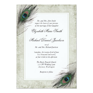 Vintage Peacock Feathers Wedding Invitation