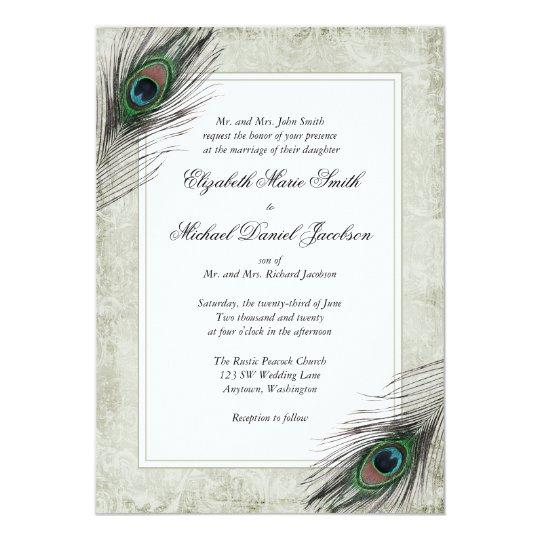 Vintage Peacock Feathers Wedding Invitation Zazzle Com