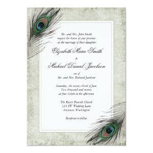 Vintage Peacock Feathers Wedding Invitations 5