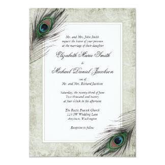 """Vintage Peacock Feathers Wedding Invitations 5"""" X 7"""" Invitation Card"""