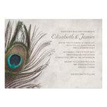 Vintage Peacock Feathers Wedding Invitations Custom Invites