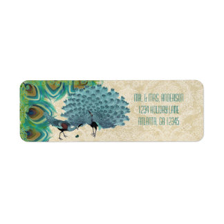Vintage Peacock Feathers Wedding Lable Label