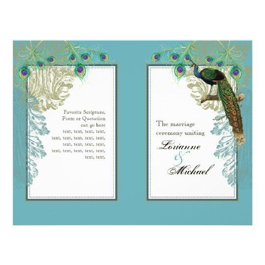 Vintage Peacock, Feathers - Wedding Program