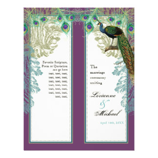 Vintage Peacock, Feathers - Wedding Program