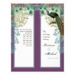 Vintage Peacock, Feathers - Wedding Program Flyer Design