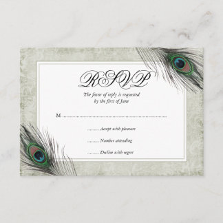 Vintage Peacock Feathers Wedding RSVP