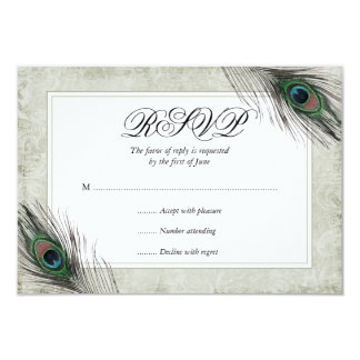 Vintage Peacock Feathers Wedding RSVP Card