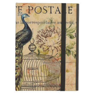 Vintage peacock floral botanical art cover for iPad air