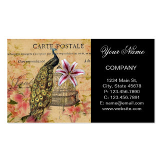 vintage peacock floral business card