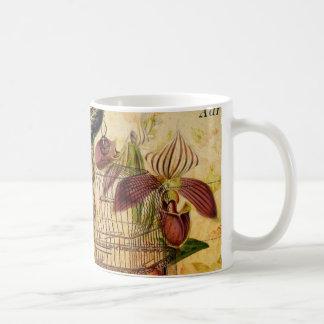 vintage peacock floral coffee mug