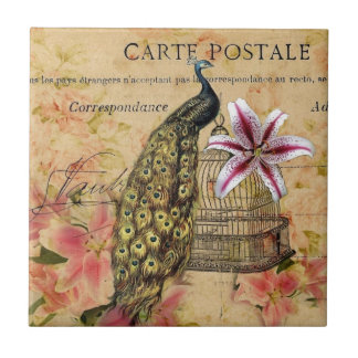 vintage peacock floral small square tile