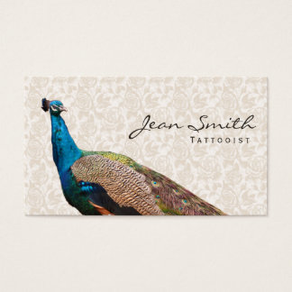 Vintage Peacock Floral Tattoo Art Business Card
