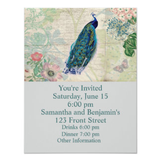 """Vintage Peacock, Flowers and Butterfly 4.25"""" X 5.5"""" Invitation Card"""