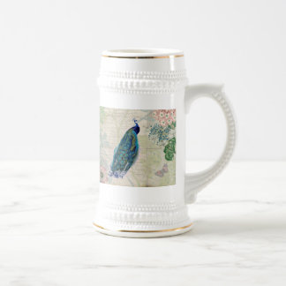 Vintage Peacock, Flowers and Butterfly 18 Oz Beer Stein