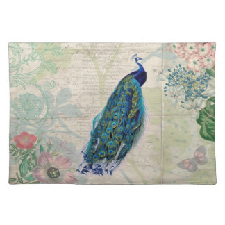 Vintage Peacock, Flowers and Butterfly Placemat