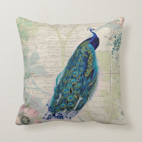 Vintage Peacock, Flowers and Butterfly Throw Pillow