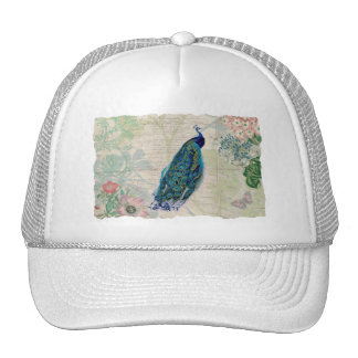 Vintage Peacock, Flowers and Butterfly Trucker Hat