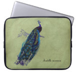 Vintage Peacock Full Feathers on Tattered Lace Laptop Computer Sleeves
