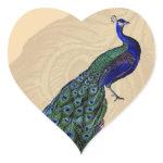 Vintage Peacock Heart Stickers zazzle_sticker