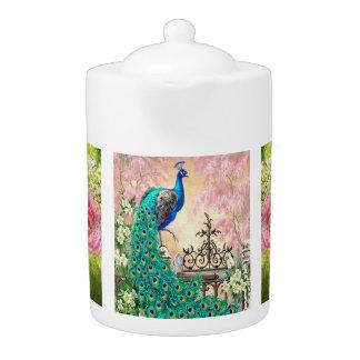 Vintage Peacock & Hummingbird Porcelain Teapot