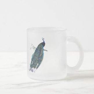 VIntage Peacock Illustration Frosted Glass Coffee Mug