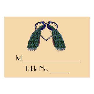 Vintage Peacock Individual Table Number Cards Large Business Cards (Pack Of 100)