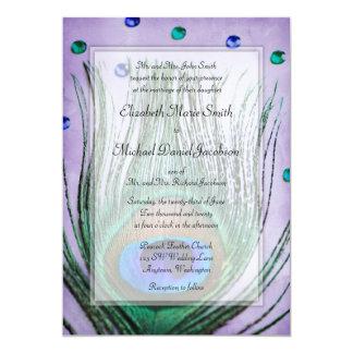 """Vintage Peacock Jewels Purple Wedding 5"""" X 7"""" Invitation Card"""
