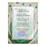 Vintage Peacock Jewels Tan Bridal Shower Invitations