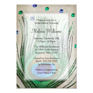 "Vintage Peacock Jewels Tan Bridal Shower 5"" X 7"" Invitation Card"