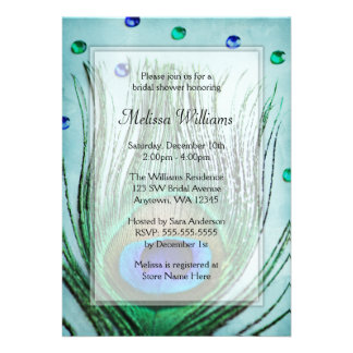 Vintage Peacock Jewels Teal Blue Bridal Shower Personalized Invite