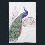 "Vintage Peacock Kitchen Towel<br><div class=""desc"">Beautiful vintage peacock on swirls ornate.</div>"