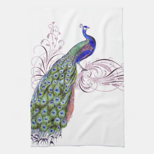 Vintage Peacock Kitchen Towel at Zazzle