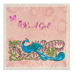 Vintage Peacock Lacy Pink Baby Shower 5.25x5.25 Square Paper Invitation Card