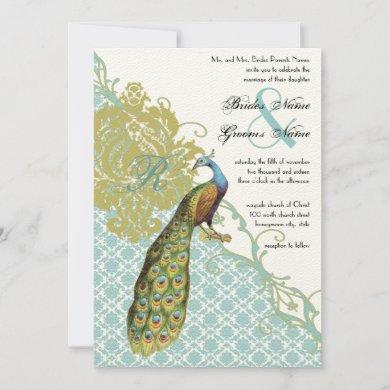 Vintage Peacock Lagoon Endive Damask Wedding Invitation