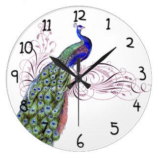 Vintage Peacock Large Clock