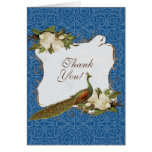 Vintage Peacock Magnolia Swirl Floral Damask Greeting Cards