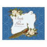 Vintage Peacock Magnolia Swirl Floral Damask Personalized Invite