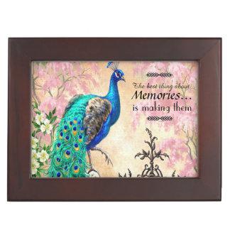 Vintage Peacock Mahogany Keepsake Memory Boxes