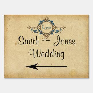 Vintage Peacock Monogram Wedding Direction Sign