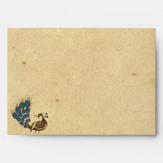 Vintage PEacock Monogram Wedding Envelope