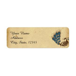 Vintage Peacock Monogram Wedding Label