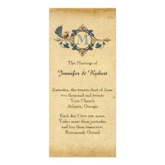 Vintage Peacock Monogram Wedding Program Full Color Rack Card