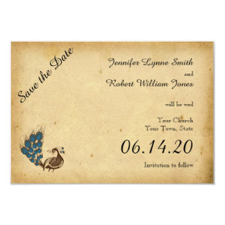 Vintage Peacock Monogram Wedding Save the Date Card