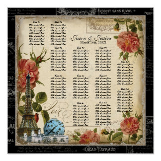 Vintage Peacock Navy Reception Table Seating Chart Poster