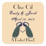 Vintage Peacock Olive Oil Favor Tags zazzle_sticker