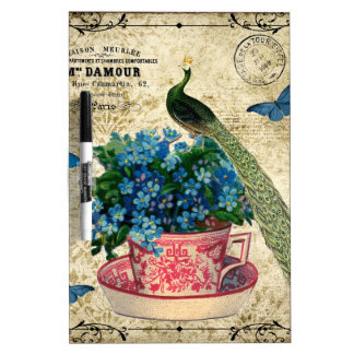Vintage Peacock on a Cup of Tea Wall Art Dry Erase Board